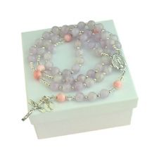 Personalised Rosary Amethyst & Pearl, Sterling Silver